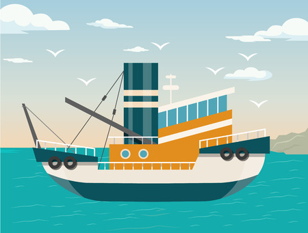 Vector schip flat illustratie