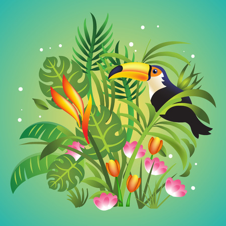 grass flowers: Vector jungle cartoon color illustration