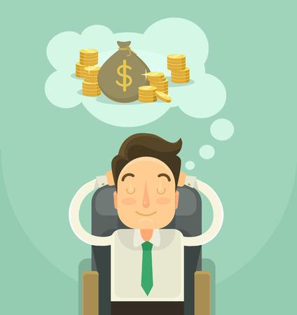 Zakenman dromen over geld. Vector flat illustratie