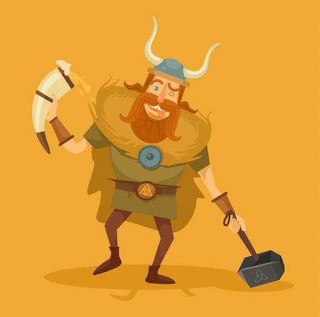 inebriated: Viking with a beer. Vector flat illustration