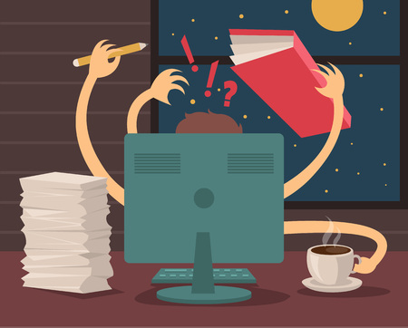 computer work: A lot of works. Vector flat illustration
