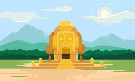 obelisk stone: Vector gold tomb flat illustration Illustration