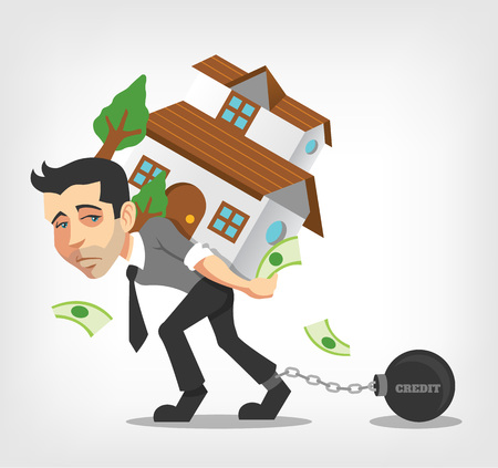 Business man carry house. Vector flat illustration