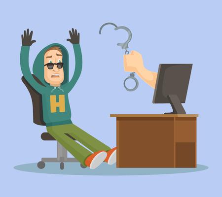 crime: Hand catch hacker. Vector flat illustration