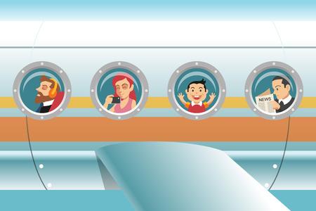 windows: Los pasajeros en avión. Ilustración vectorial de dibujos animados Vectores