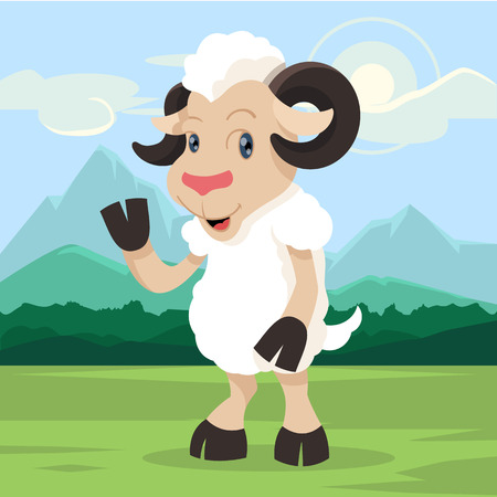 say hello: Sheep say hello! Vector cartoon illustration