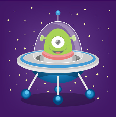 cute alien: Alien vector flat illustration