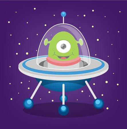 platillo volador: Vectores de Alien plana ilustración