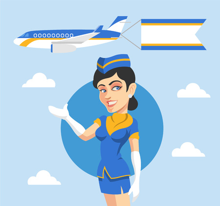 Stewardess and airplane behind her. Vector flat illustration