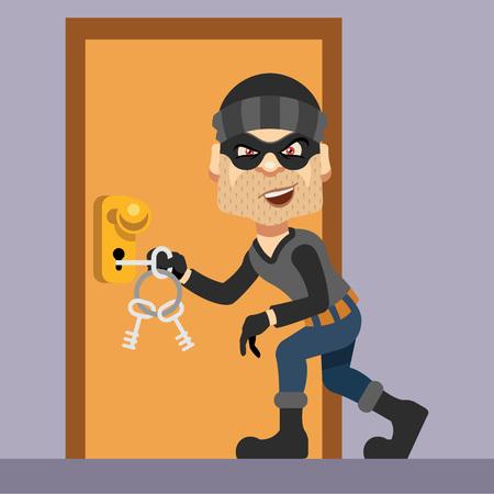 risk: Thief vector flat illustration