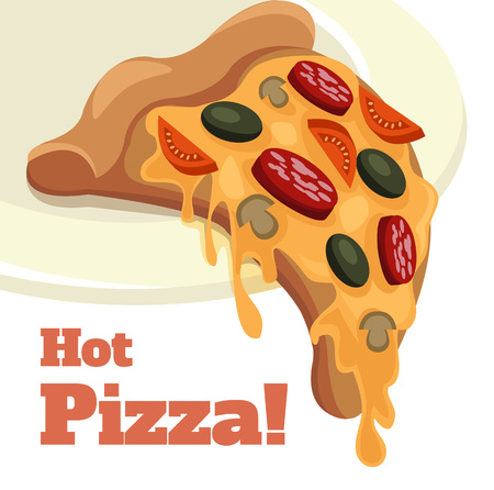 pepperoni pizza: Vector pizza cartoon illustration