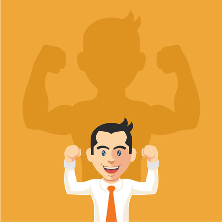 Businessman casting strong man shadow. Vector flat illustration Иллюстрация