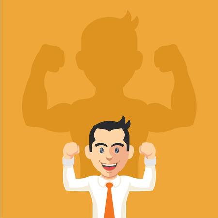Businessman casting strong man shadow. Vector flat illustration Illustration