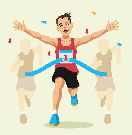 Man winning a race. Vector flat illustration