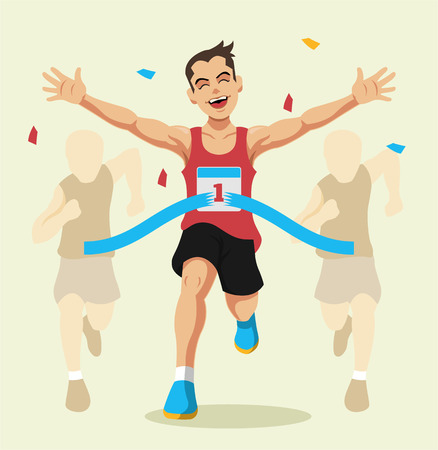 marathon runner: Man winning a race. Vector flat illustration