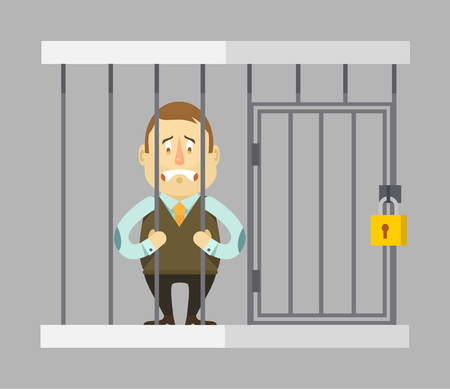 jail: Prisoner businessman. Vector flat illustration