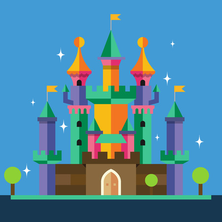 castillos: Castillo de dibujos animados. Vector ilustración plana Vectores