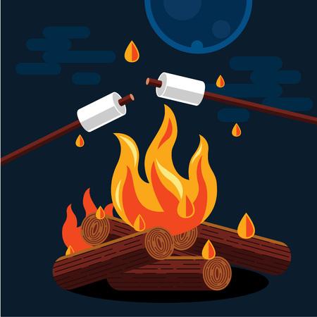 brandweer cartoon: Bonfire met marshmallow. Vector flat illustratie