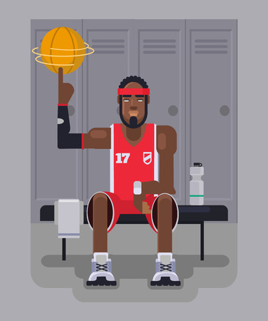 dressing room: Basketball player. Vector flat illustration Illustration