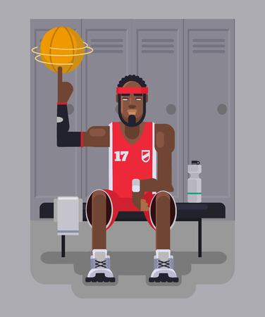 slam dunk: Basketball player. Vector flat illustration Illustration