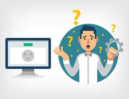 frustrace: Muž se zlomenou počítačem. Vektorové ilustrace ploché Ilustrace