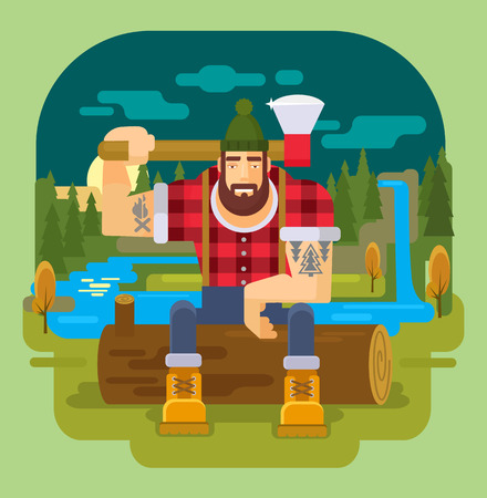 sawyer: lumberjack. Vector flat illustration Illustration