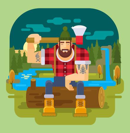coverall: lumberjack. Vector flat illustration Illustration