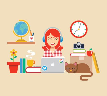 少女と猫の職場。ベクトル フラット図