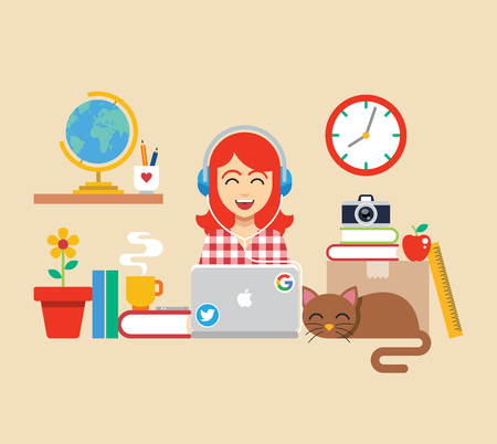 Workplace with girl and cat. Vector flat illustration