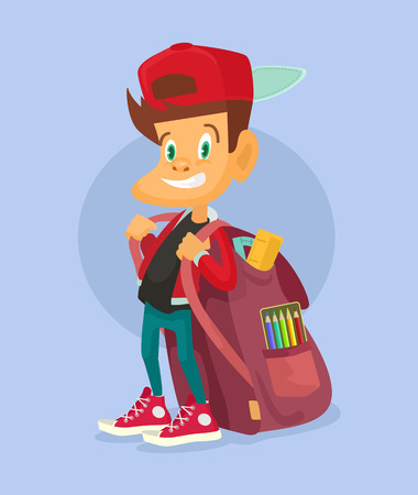 youthful: Kid ready to go back to school. Vector flat illustration Illustration