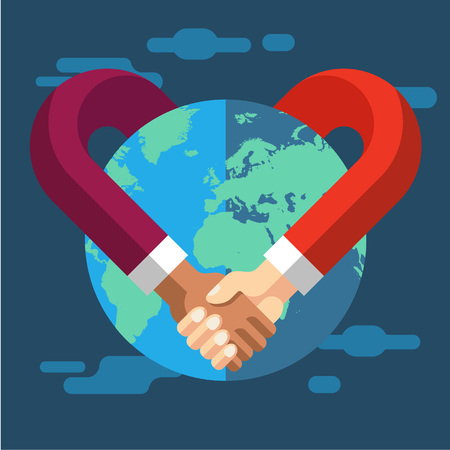 handshake: International Partnership. Vector flat illustration