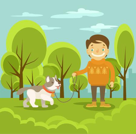 dog park: Vector boy with dog. Vector flat illustration
