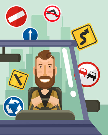 cartoon safety: Driver is driving. Vector flat illustration