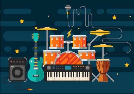 stage decoration abstract: Musical instruments. Vector flat illustration