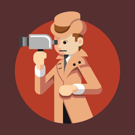 detective: Vector detective flat illustration Illustration