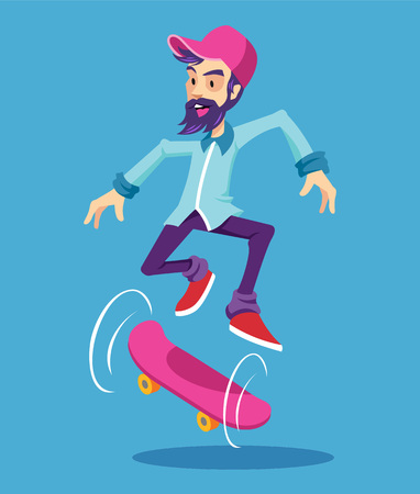 cool man: Hipster character on longboard. Vector flat cartoon illustration Illustration