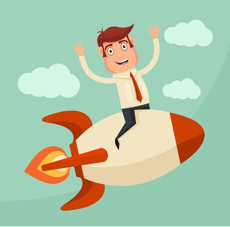 cohetes: Inicio de negocios. Hombre de negocios en un cohete. Vector ilustración plana