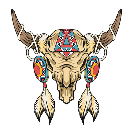 longhorn cattle: Buffalo skull. Vector art illustration Illustration