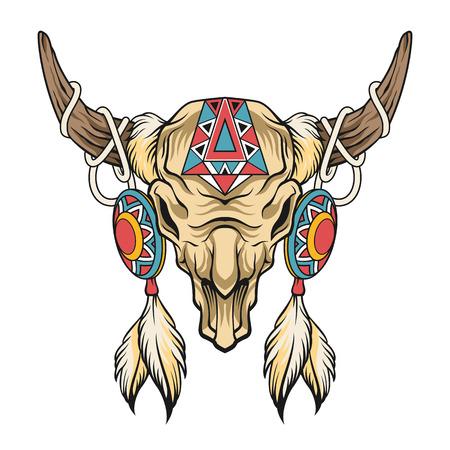 Buffalo skull. Vector art illustration Illustration