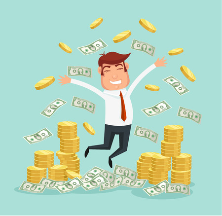 cash flows: Wealthy businessman. Vector flat illustration