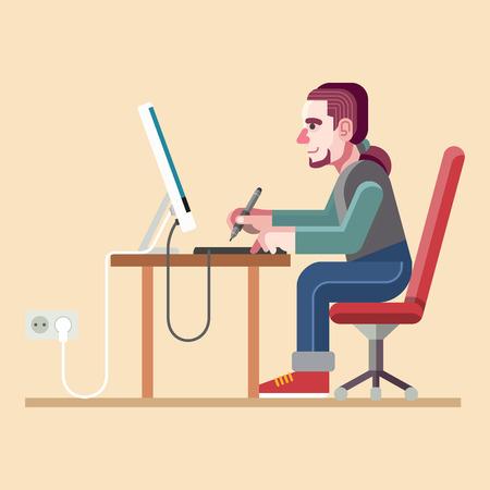 Graphic designer. Vector flat illustration