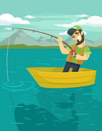 fishman: Fisherman catching a big fish. Vector flat illustration