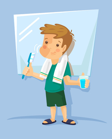 flat brush: Boy brushing his teeth. Vector flat illustration