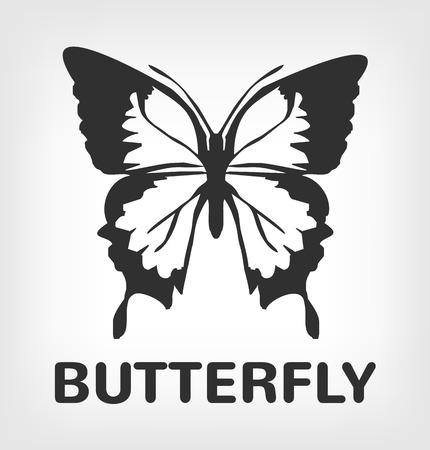 Silhouette de papillon icône illustration noir Banque d'images - 46321312