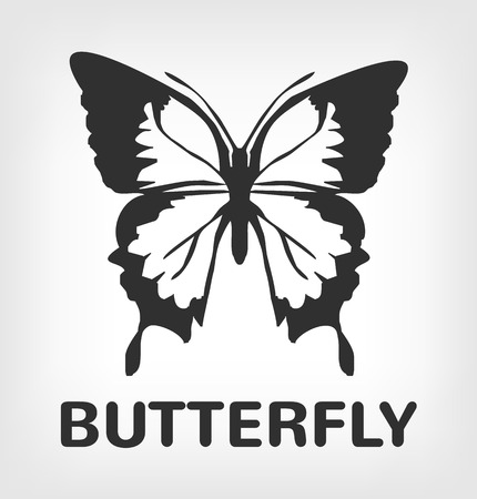 papillon: Silhouette de papillon icône illustration noir