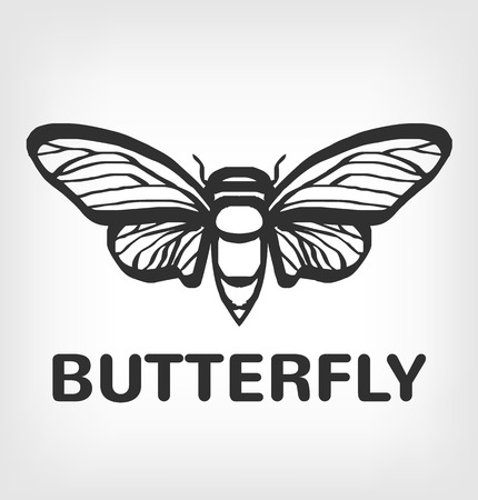 animals outline: Butterfly silhouette vector black  icon illustration