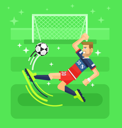 ballplayer: Soccer player. Vector flat illustration