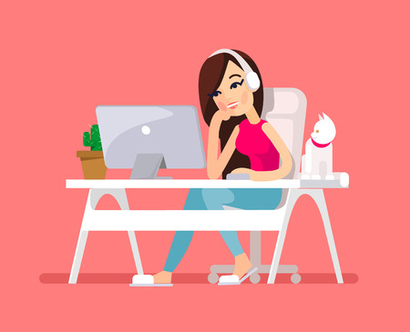 Woman sitting at desk. Vector flat illustration