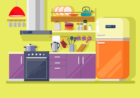 Kitchen with furniture. Vector flat illustration Иллюстрация