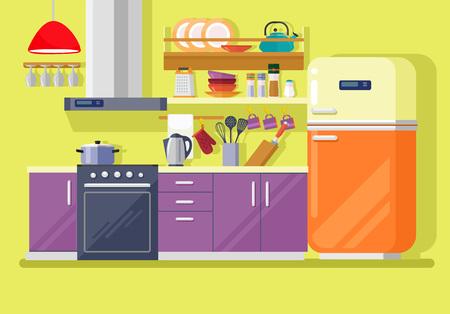 Kitchen with furniture. Vector flat illustration Illustration
